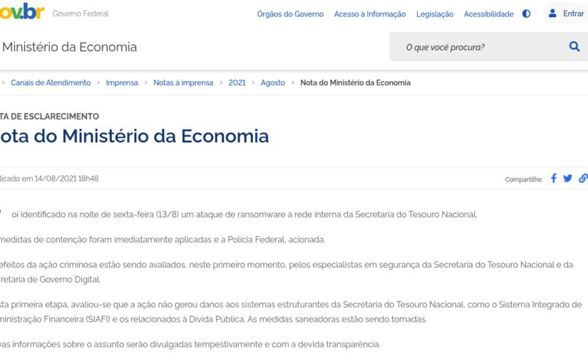 Ministério da Economia confirma ataque de ransomware